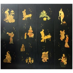 1970s Japanese Four Panel Black Lacquer Folding Screen with Decoupage Scenes