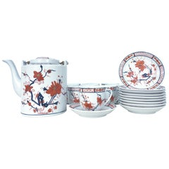 "1970'S Japanese Hand-Painted Porcelain Dinnerware ""Imari"" Set/22"