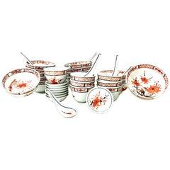 "1970's Japanese Hand Painted Porcelain Dinnerware ""Imari"" Set of 35"