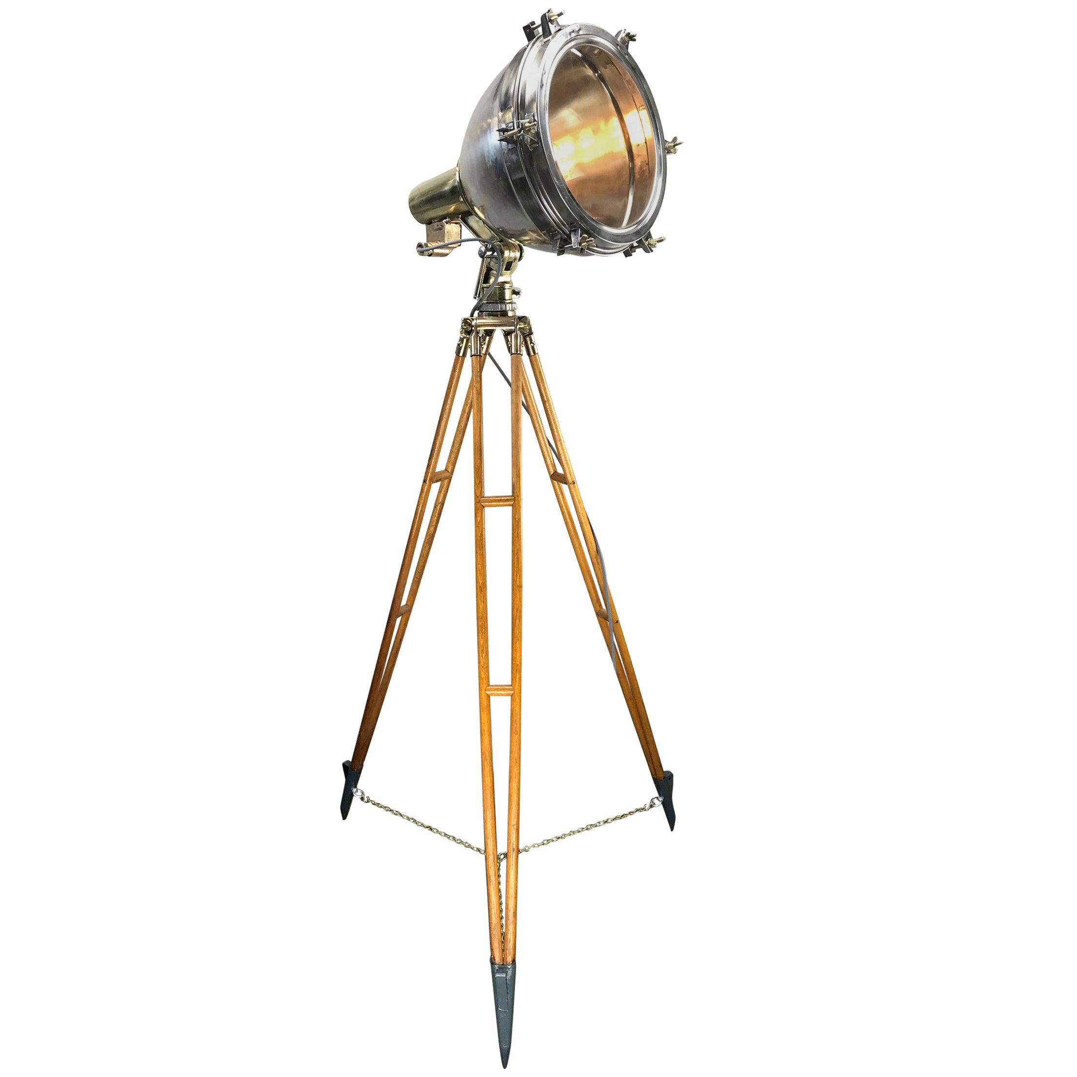 1970s Japanese Industrial Brass, Bronze and Stainless Steel Search Light Tripod