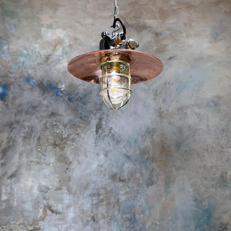 1970s Japanese Industrial Cast Iron and Copper Pendant Brass Cage and Glass Dome For Sale 8
