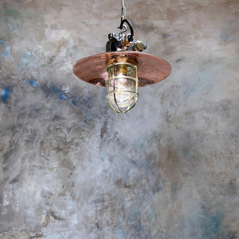 1970s Japanese Industrial Cast Iron and Copper Pendant Brass Cage and Glass Dome For Sale 9