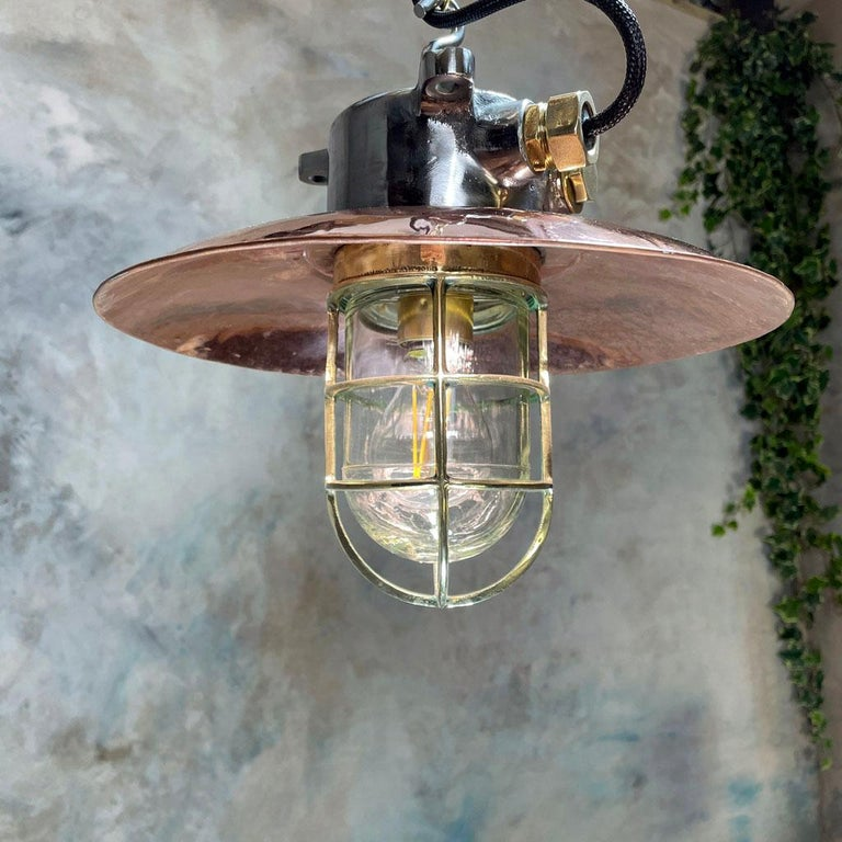 1970s Japanese Industrial Cast Iron and Copper Pendant Brass Cage and Glass Dome In Good Condition For Sale In Leicester, Leicestershire