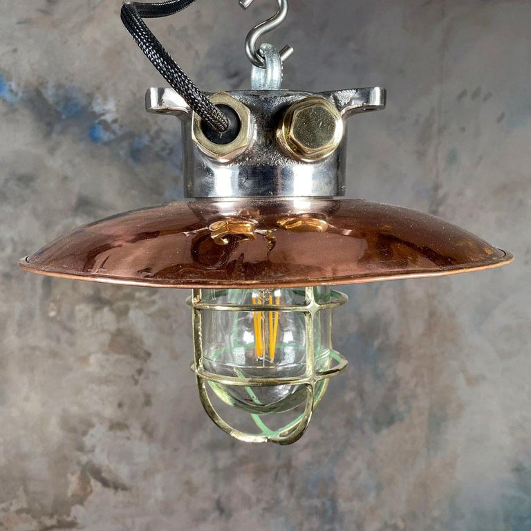 1970s Japanese Industrial Cast Iron and Copper Pendant Brass Cage and Glass Dome For Sale 2