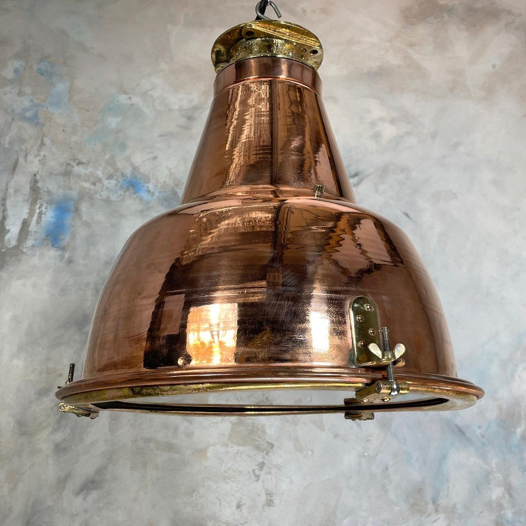 1970s Japanese Large Industrial Copper and Brass Dome Pendant Lamp For Sale 6