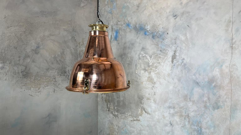 1970s Japanese Large Industrial Copper and Brass Dome Pendant Lamp For Sale 15