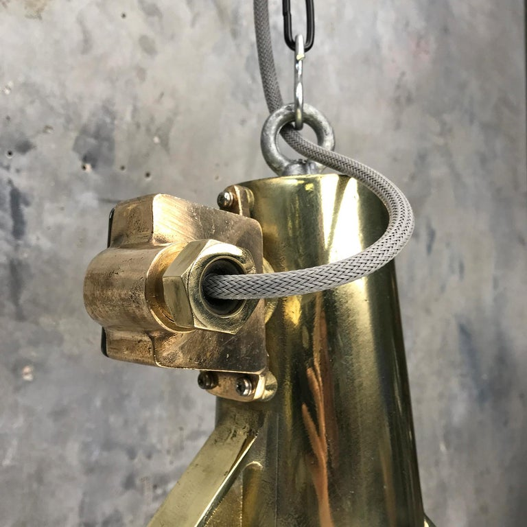 1970s Japanese Large Stainless Steel, Cast Brass & Glass Search Light Pendant For Sale 8