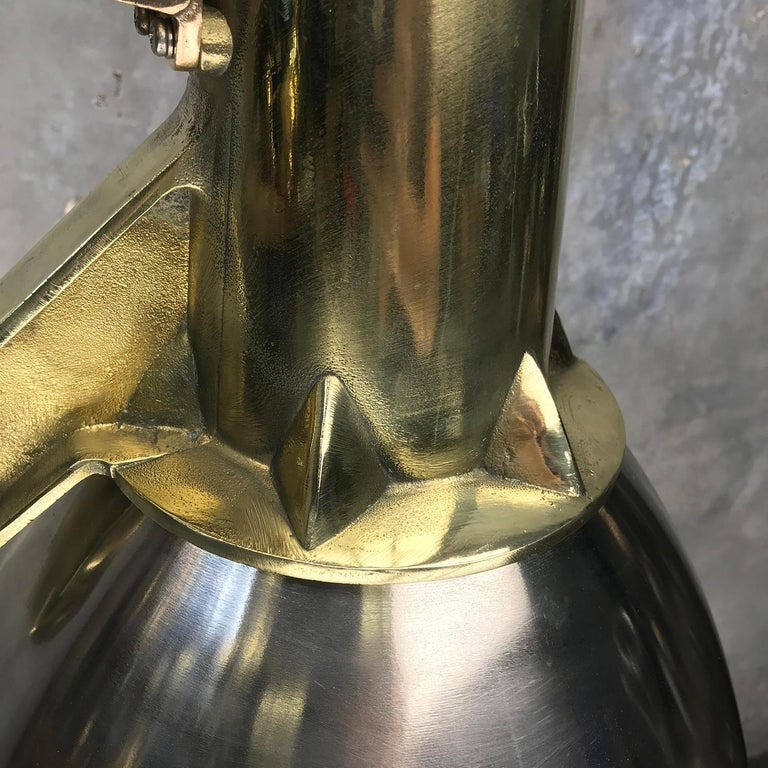 1970s Japanese Large Stainless Steel, Cast Brass & Glass Search Light Pendant For Sale 10