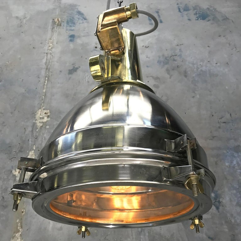 1970s Japanese Large Stainless Steel, Cast Brass & Glass Search Light Pendant For Sale 12