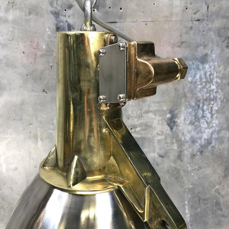 1970s Japanese Large Stainless Steel, Cast Brass and Glass Search Light Pendant For Sale 2