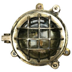 1970s Japanese Small Cast Brass and Glass 6 Bar Circular Bulkhead Wall Light