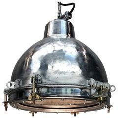 1970s Japanese Vintage Industrial Aluminium Dome Ceiling Pendant, Glass Lens