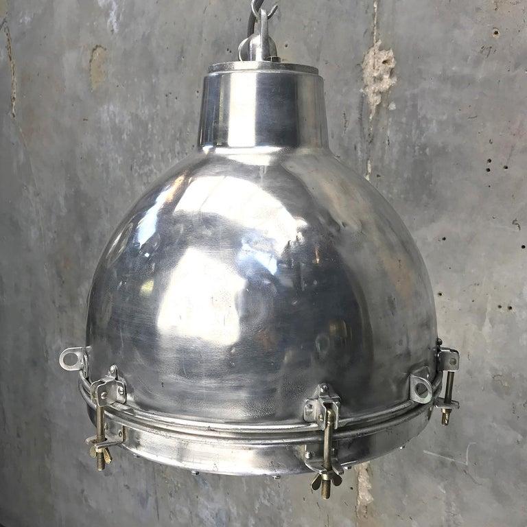 1970s Japanese Vintage Industrial Aluminium Dome Pendant - Convex Glass Shade 7
