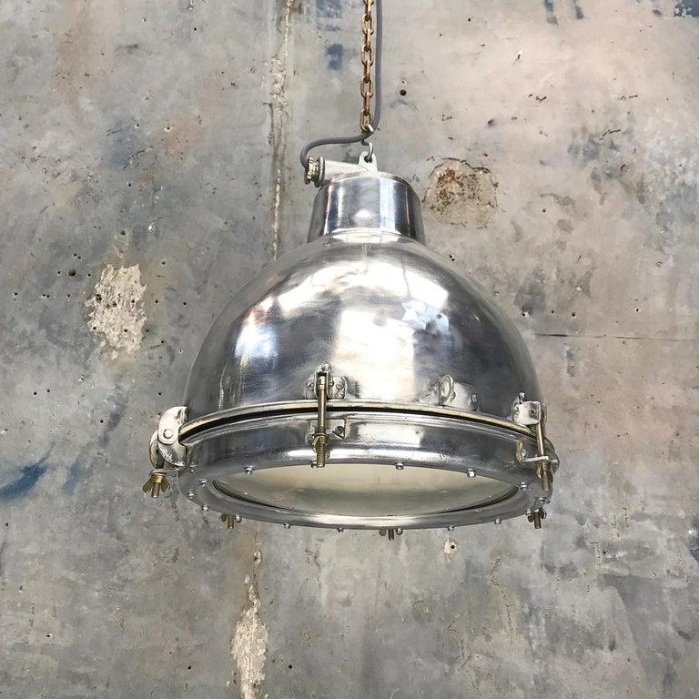 1970s Japanese Vintage Industrial Aluminium Dome Pendant - Convex Glass Shade 11