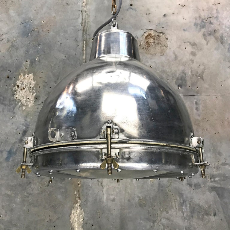 Cast 1970s Japanese Vintage Industrial Aluminium Dome Pendant - Convex Glass Shade