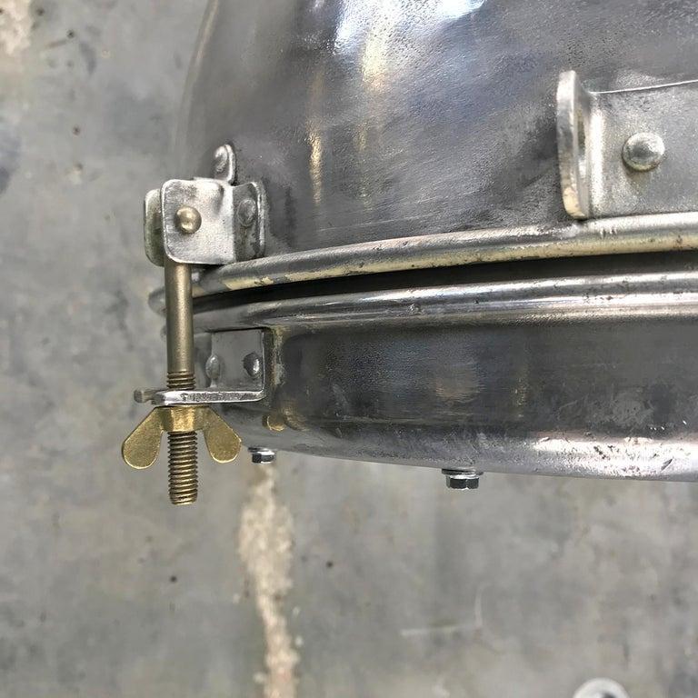 Late 20th Century 1970s Japanese Vintage Industrial Aluminium Dome Pendant - Convex Glass Shade