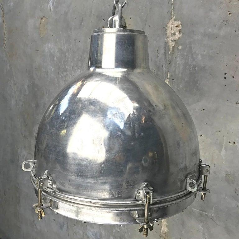 Aluminum 1970s Japanese Vintage Industrial Aluminium Dome Pendant - Convex Glass Shade