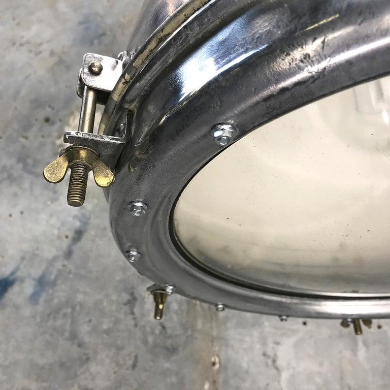 1970s Japanese Vintage Industrial Aluminium Dome Pendant - Convex Glass Shade 1