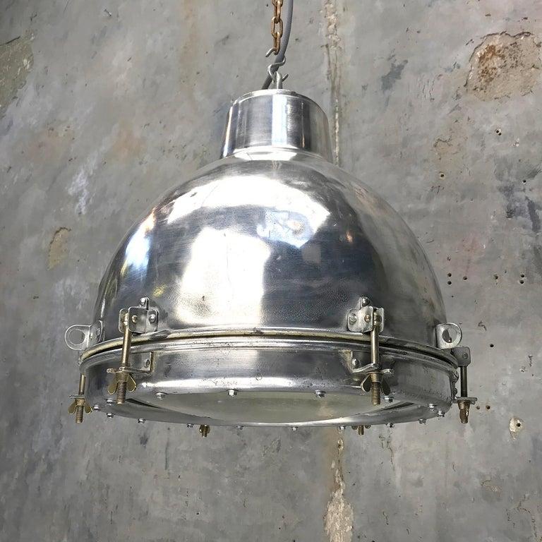 1970s Japanese Vintage Industrial Aluminium Dome Pendant - Convex Glass Shade 3