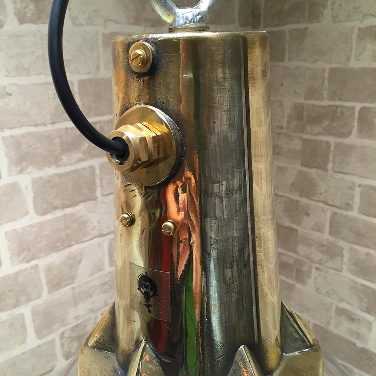 Industrial 1970s Japanese XL Stainless Steel, Cast Brass & Glass Search Light Pendant For Sale