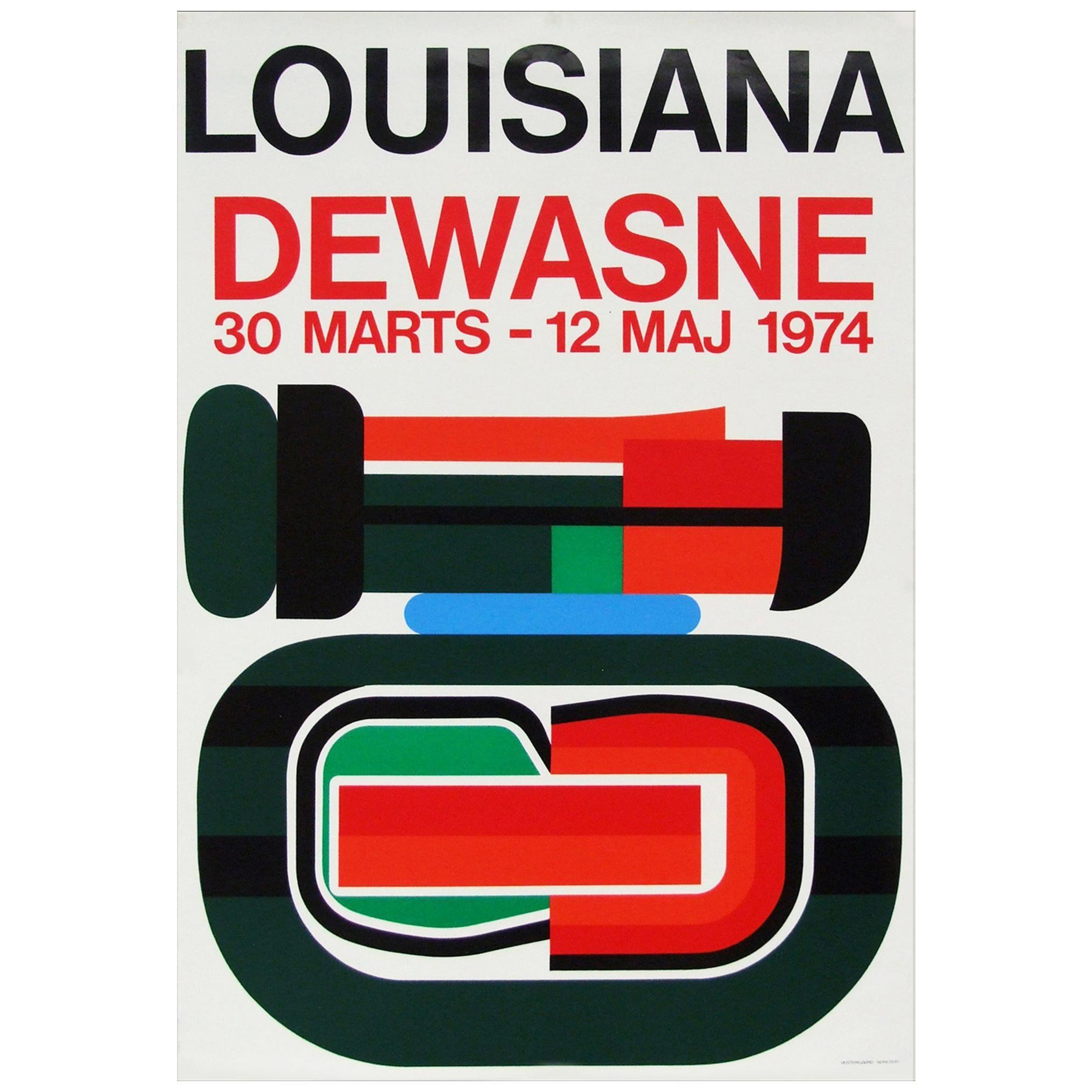 1970s Jean Dewasne Exhibition Poster Pop Art Design