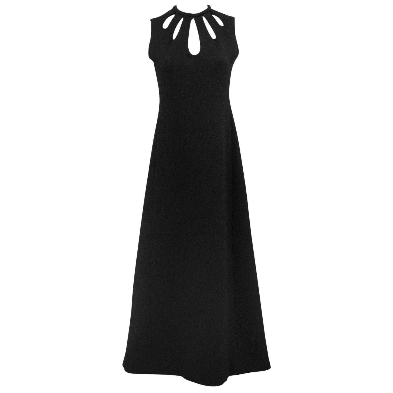 1970s Jean Louis Scherrer Black Cut Out Gown