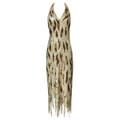 1970s Jean Louis Scherrer Gold & Copper Densely Sequinned Flame Dress