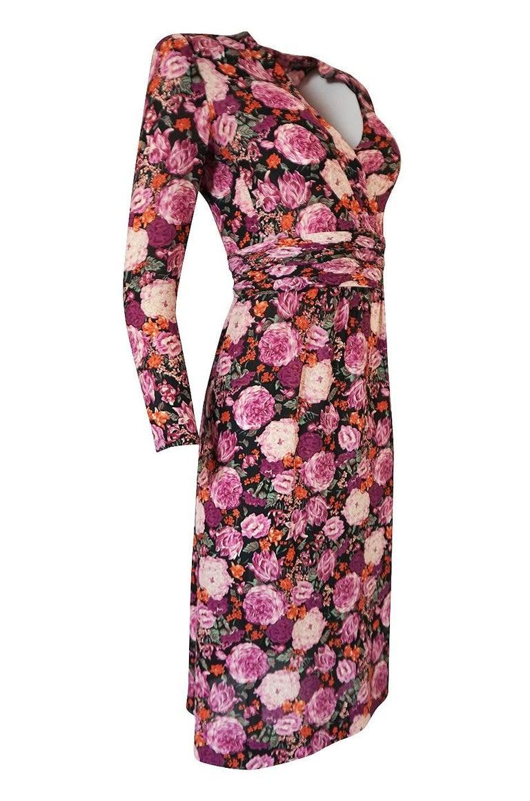 1970s jean louis scherrer haute couture pink floral silk. Black Bedroom Furniture Sets. Home Design Ideas