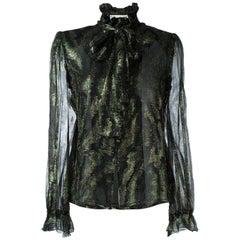 1970s Jean Louis Scherrer Silk And Lurex Shirt