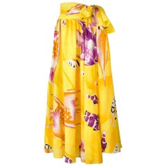 1970s Jean-Louis Scherrer Yellow Printed Skirt