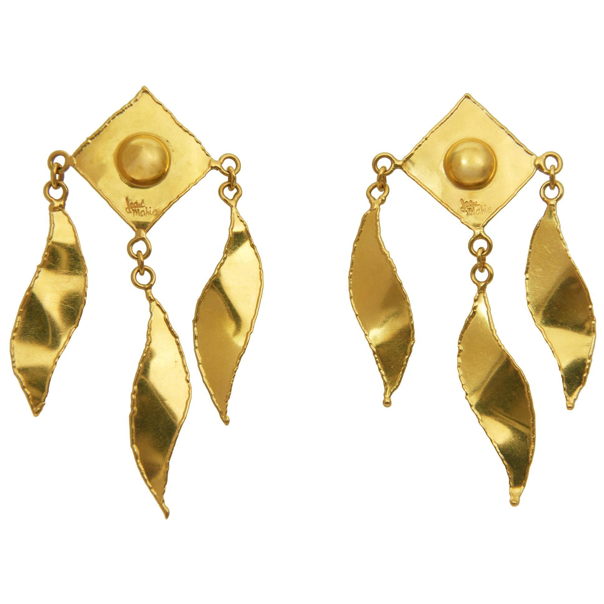 1970s Jean Mahie Long Gold Earrings
