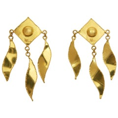 1970s Jean Mahie Long Gold Earrings