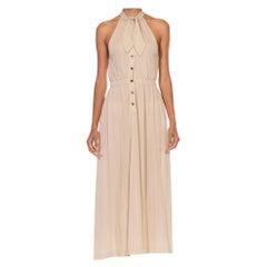 1970S JEAN MUIR Ecru Rayon Jersey Slinky Bow Neck Halter Dress