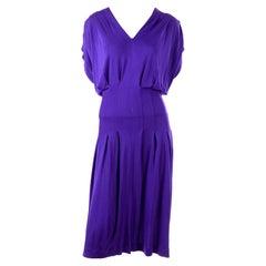 1970s Jean Muir London Vintage Purple Rayon Jersey Dress
