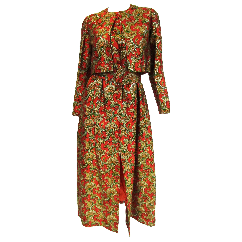 1970s Jean Patou by Jean Paul Gaultier Silk Brocade Evening Maxi Dress