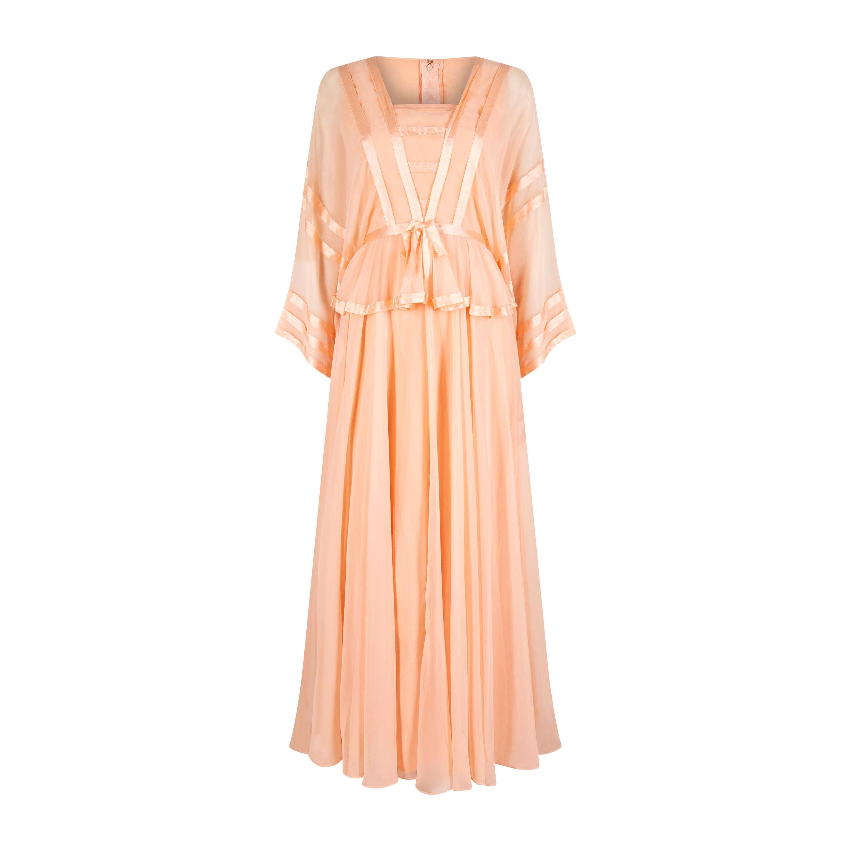 1970s Jean Varon Peach Chiffon Dress With Ribbon Trim
