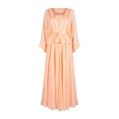 1970s Jean Varon Peach Chiffon Dress With Ribbon Trim