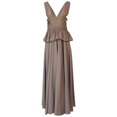 1970s Jean Varon Plunging Halter Open Back Taupe Jersey Grecian Dress