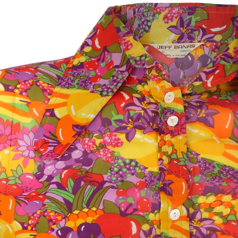 1970s Jeff Banks Colourful Floral and Fruit Print Shirt In Excellent Condition In London, GB