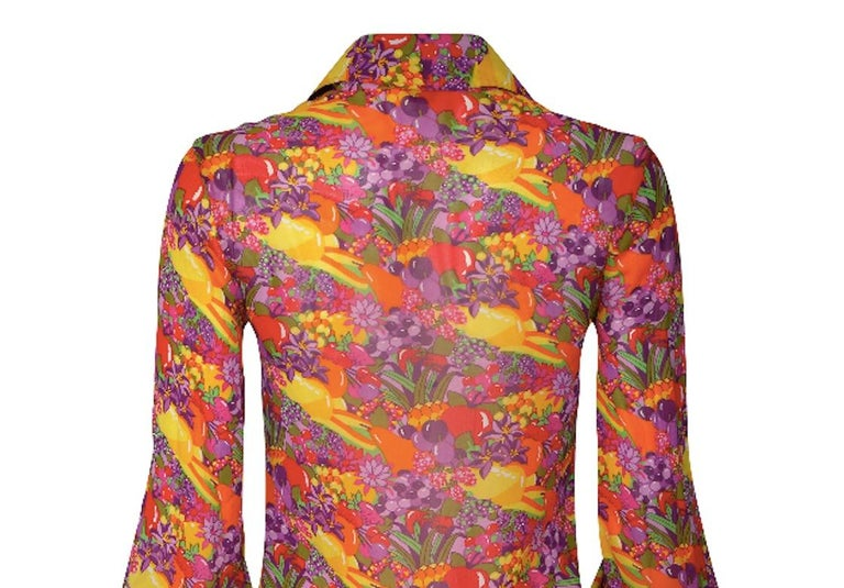 Women's 1970s Jeff Banks Colourful Floral and Fruit Print Shirt