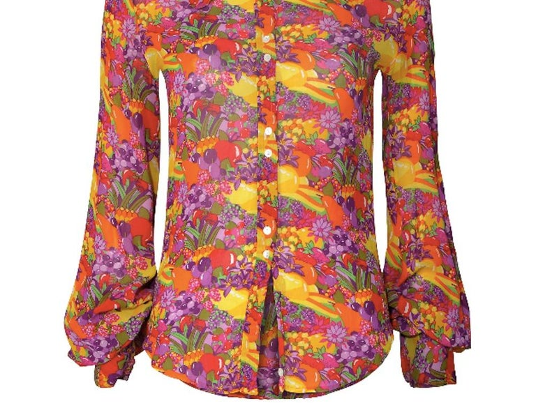 1970s Jeff Banks Colourful Floral and Fruit Print Shirt 1