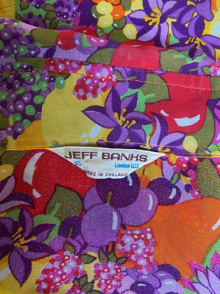 1970s Jeff Banks Colourful Floral and Fruit Print Shirt 2