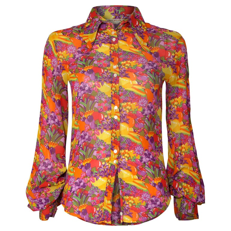 1970s Jeff Banks Colourful Floral and Fruit Print Shirt