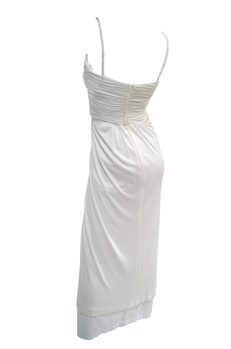 Women's 1970s Jill Richards White Knit Grecian Gown with Feather Trim Shawl For Sale