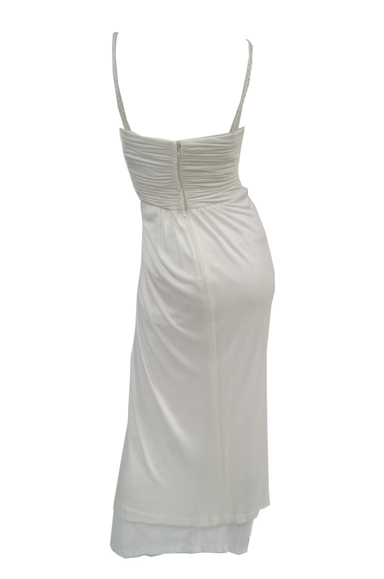 1970s Jill Richards White Knit Grecian Gown with Feather Trim Shawl For Sale 1