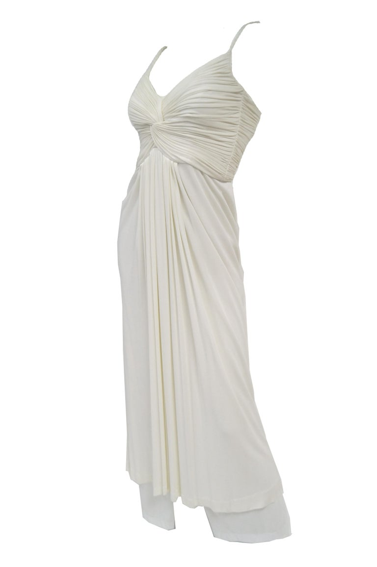 1970s Jill Richards White Knit Grecian Gown with Feather Trim Shawl For Sale 3