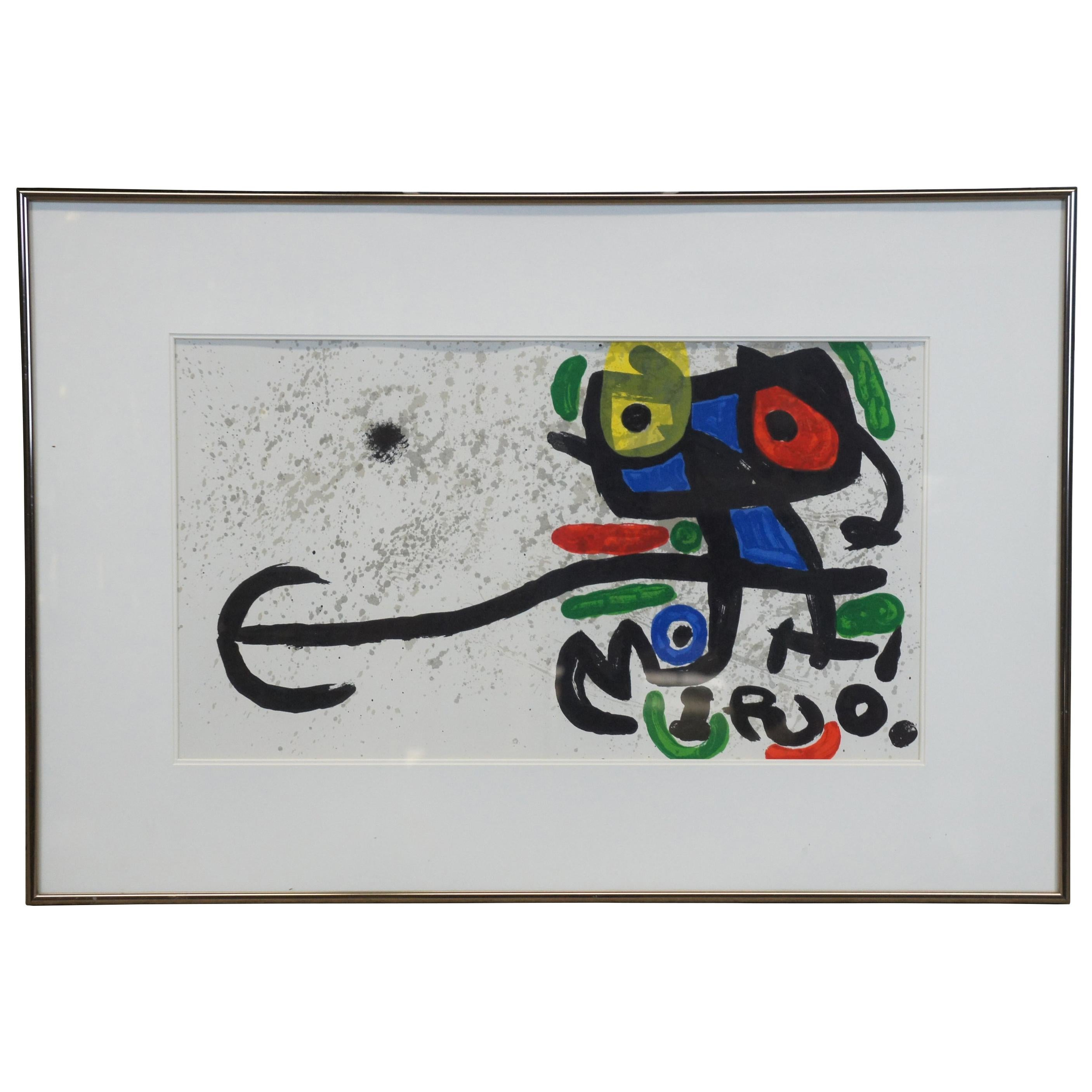 1970s Joan Miro Framed Abstract Owl Lithograph MCM COA