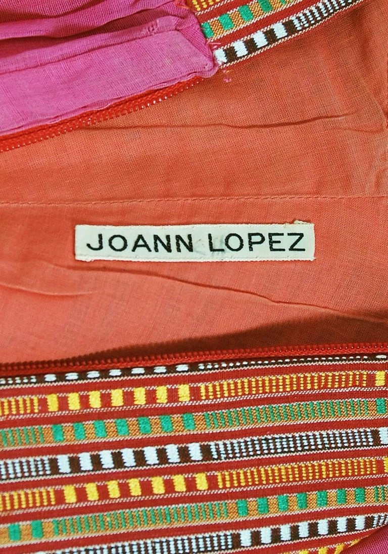 1970's Joann Lopez Embroidered Patchwork Cotton Maxi Dress Worn By Zsa Zsa Gabor For Sale 5