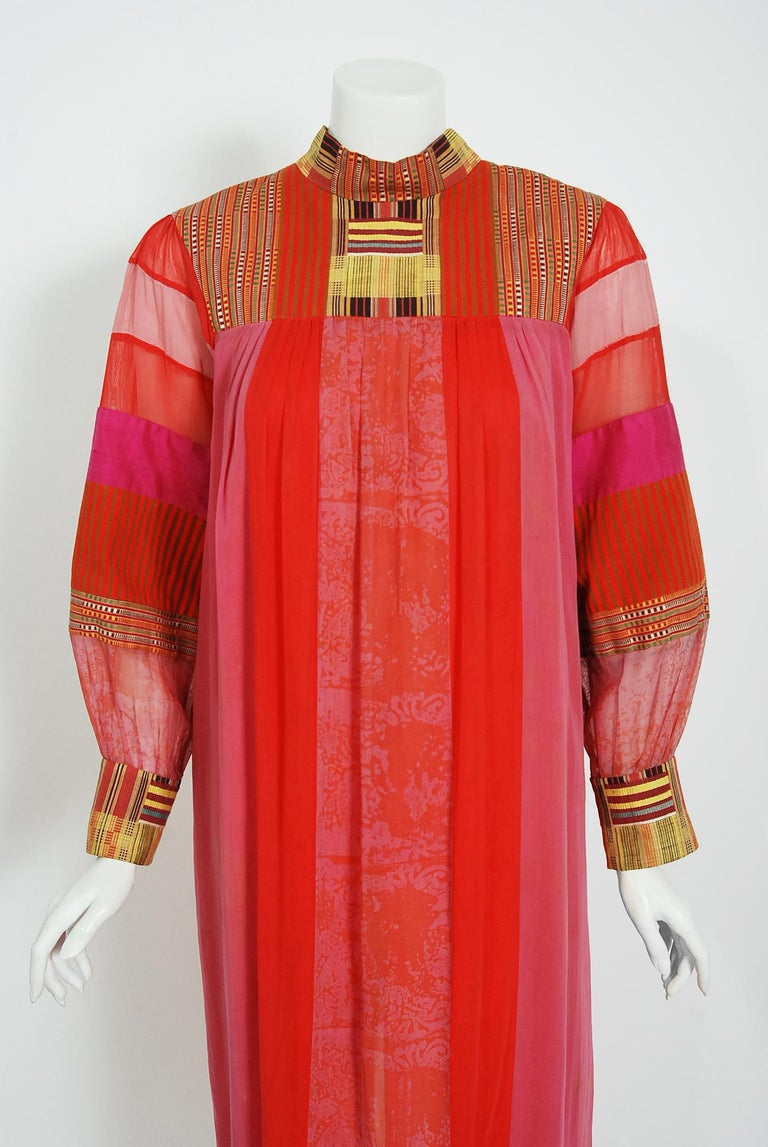 A vibrant, early 1970's Joann Lopez designer embroidered cotton dress straight from Zsa Zsa Gabor's wardrobe. This dress dates back to the height of the bohemian craze and was sold to Zsa Zsa at a high-end Los Angeles boutique. The garment is
