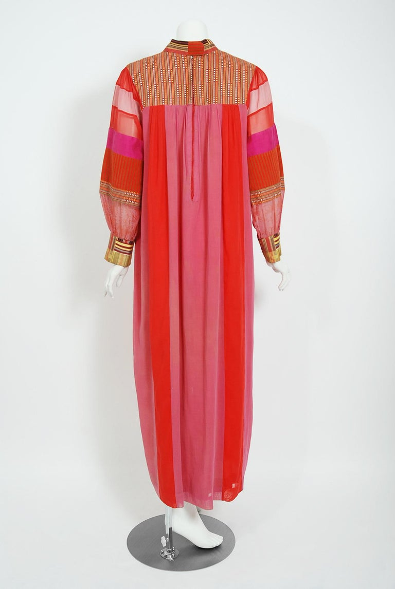 1970's Joann Lopez Embroidered Patchwork Cotton Maxi Dress Worn By Zsa Zsa Gabor For Sale 3